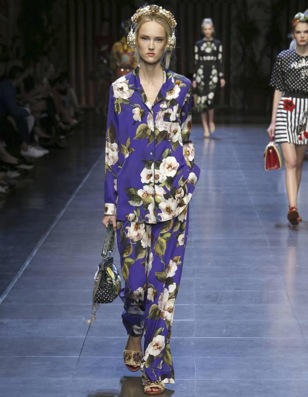 Dolce & Gabbana silk charmeuse pyjama shirt, £875, and pyjama trousers, £875