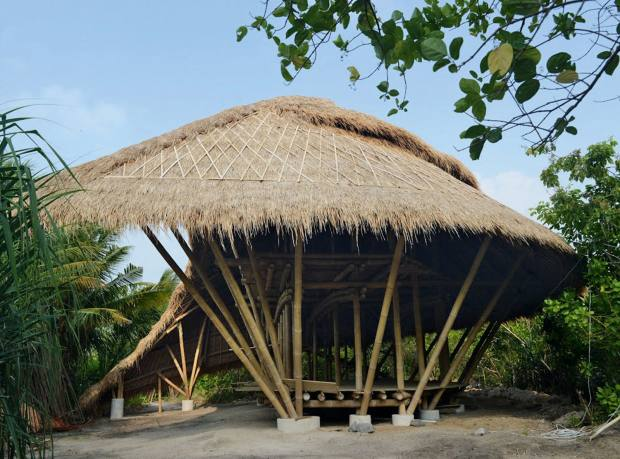A bamboo villa under under construction on Cempedak Island, Indonesia