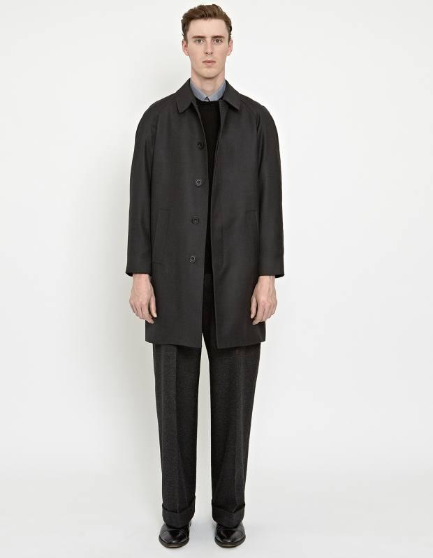 Wool raglan car coat, £749, Shetland-wool jumper, £195, cotton soft-collar shirt, £270, and wool terry trousers, £395