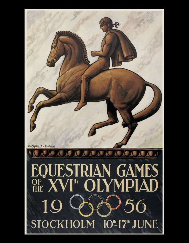 Posters for the 1956 Olympics' equestrian events in Stockholm sell for £970-£1,620.
