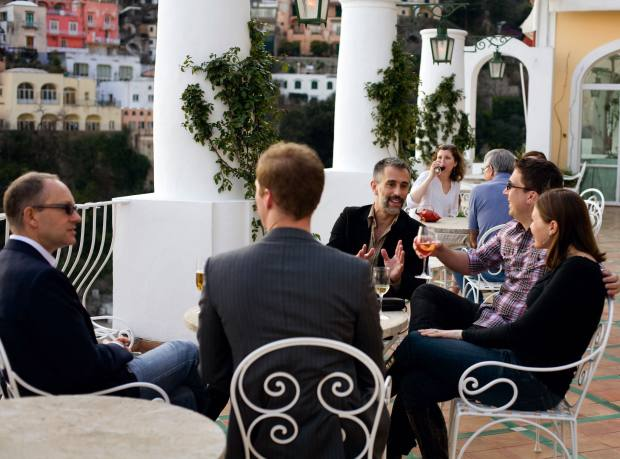 Students take a break on the terrace with Antonio Sersale and Andrew Sean Greer (first and second left).