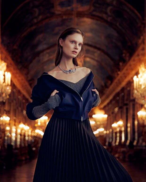 Balenciaga cotton jacket, about £1,000, wool jumper, about £500, and cotton skirt, about £1,500. Dior Fine Jewellery Chambre du Roi white, rose and yellow gold, darkened silver, diamond and sapphire necklace, price on request