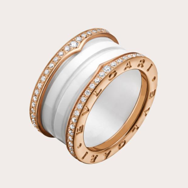 Bulgari rose gold, ceramic and diamond B.zero1 ring, from £830