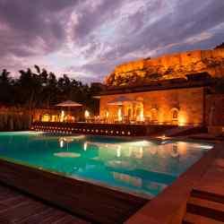 The swimming pool at the Raas hotel, Jodhpur, Rajasthan.