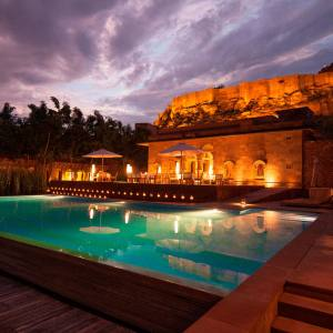 The swimming pool at the Raas hotel, Jodhpur, Rajasthan.