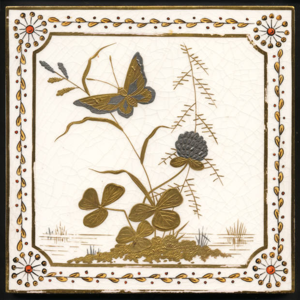 Minton tiles painted in gold and platinum, £2,250 for a set of 12 through Tile Heaven