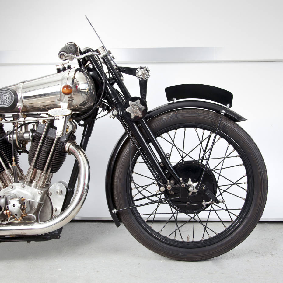 The Brough Superior SS 100 V Twin 1100cc with three-speed Sturmey Archer gearbox.