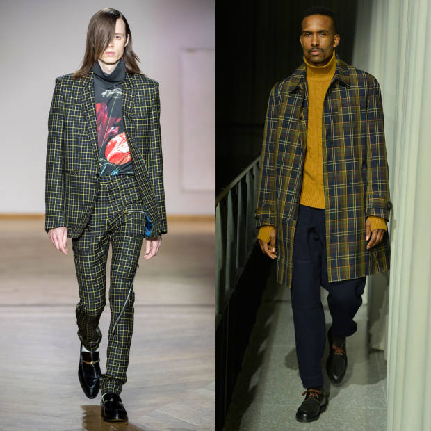 From left: Paul Smith wool blazer, £960, and matching bondage trousers, £455. Oliver Spencer cotton-mix coat, £390