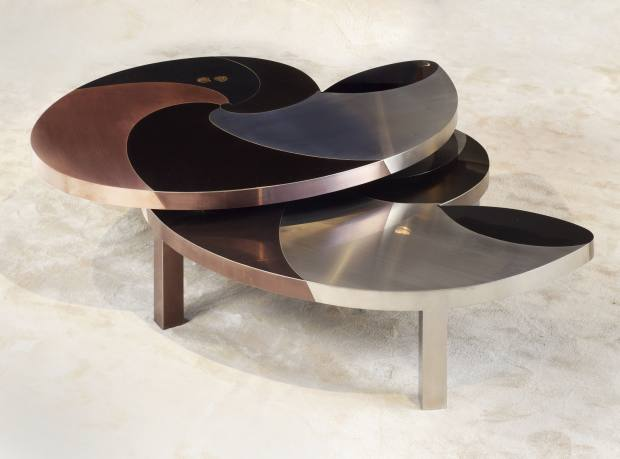 Ammonite table in stainless steel and metal, 2010. Price on request