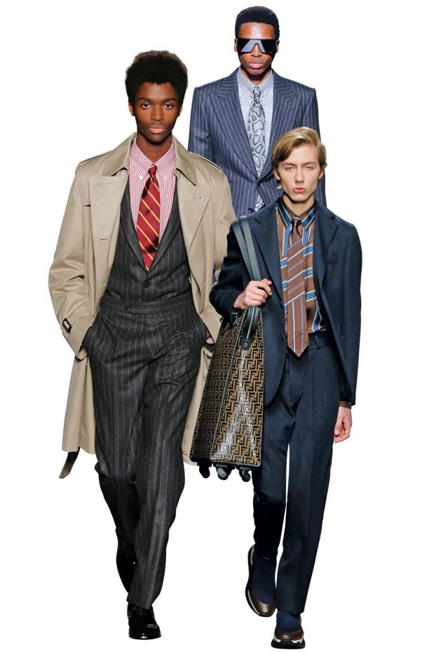 From left: Brooks Brothers gingham shirt and stripe tie were one-off anniversary designs for the runway. Tom Ford cotton shirt, £450, and silk tie, £195. Fendi silk shirt, £850, and silk tie, £100