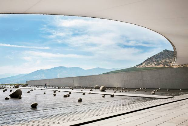 The stunning avant-garde entrance of the Viña Vik winery in Chile