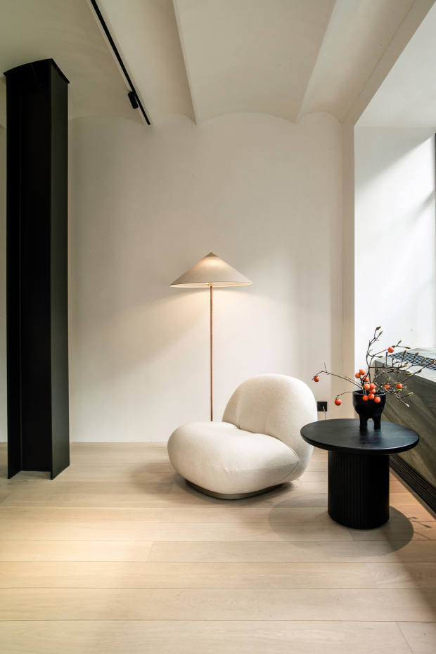 Pierre Paulin's iconic Pacha chair sits in the corner of one of two hotel suites