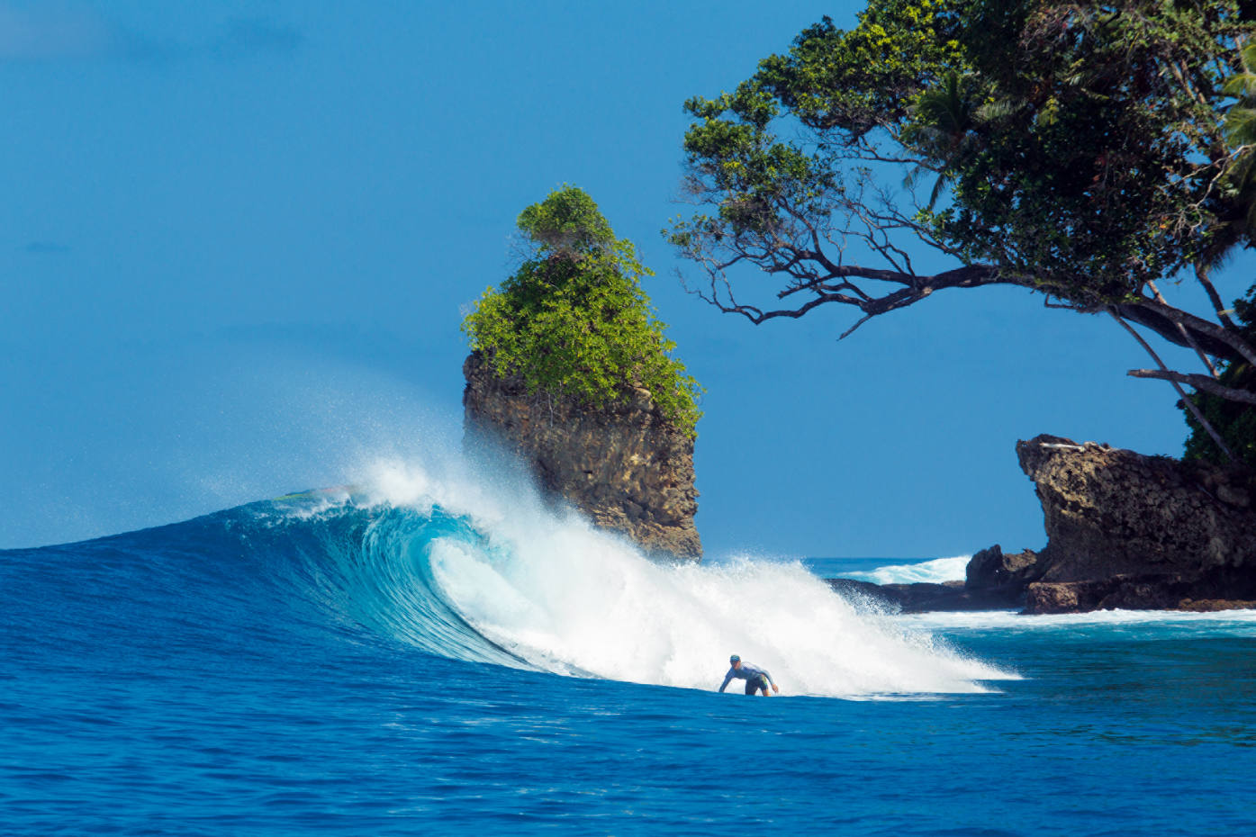 Quality breaks abound in the Telo archipelago, off Sumatra, home to Pinnacles on Telo resort