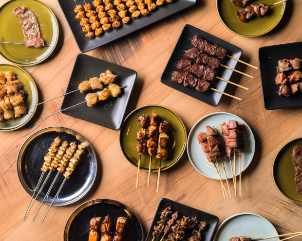 Grilled meat skewers at Trunk Kushi restaurant