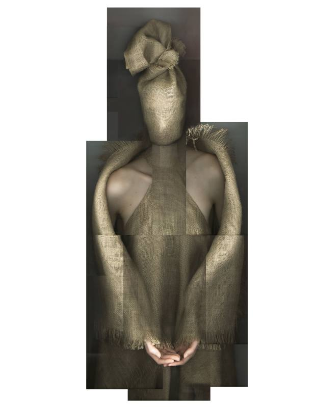 Gareth Pugh hessian dress, mask and wrap, all price on request