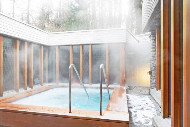 The outdoor hot tub is one of the hotel's major draws