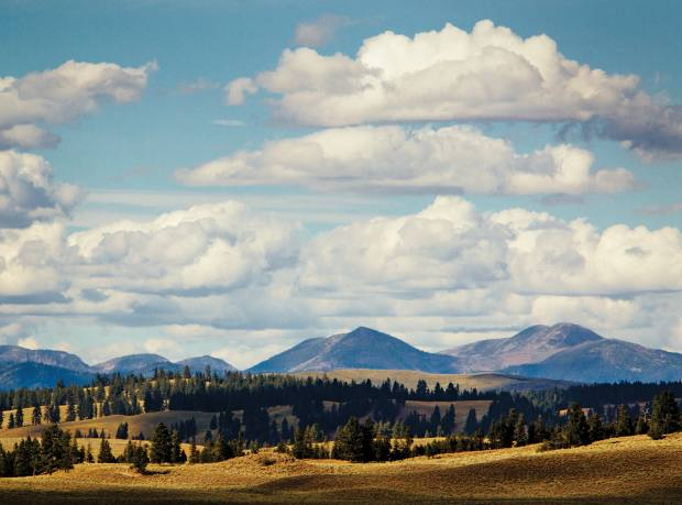 Some of the 37,000 acres of mountains and forest around Montana's The Resort at Paws Up