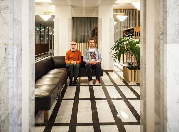Erkka Nissinen and Nathaniel Mellors at the Finnish pavilion