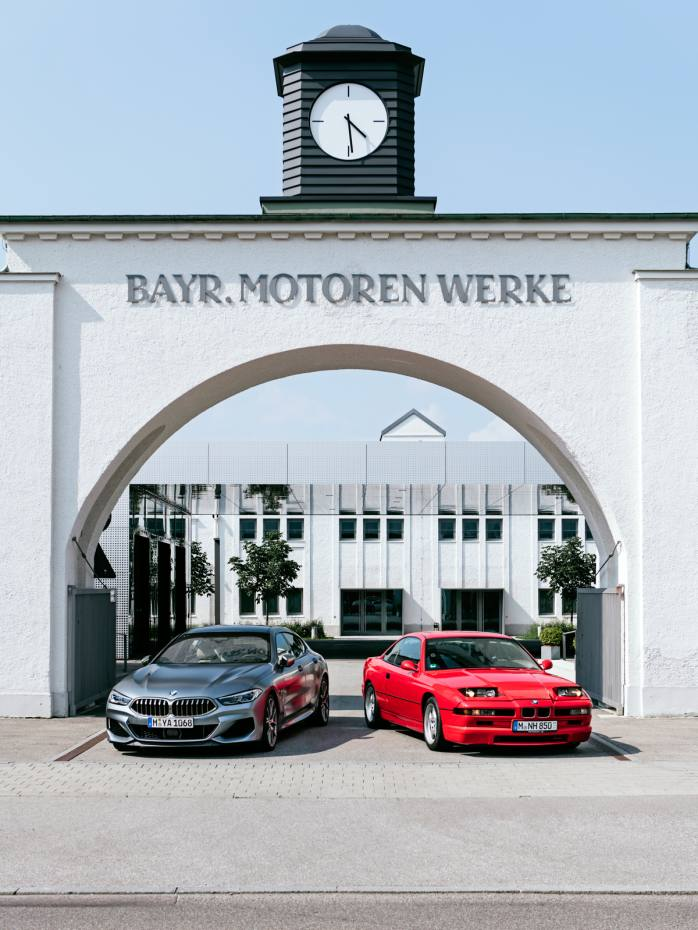 BMW's new 8 Series side by side with its legendary predecessor, the E31, at the gates of BMW Group Classic