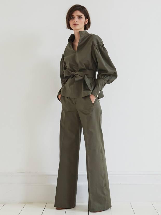 Anna Mason Jasmine chino top, £360, and cotton Beau trousers, £360