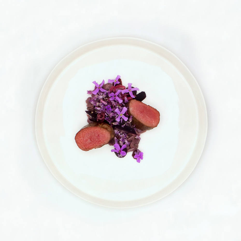 """Star anise-infused tartare of tuna with purple shiso, minute croutons and cranberry """"mayonnaise"""""""