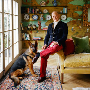 Claud Cecil Gurney at home with Mowgli