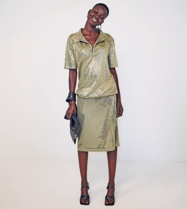 Bottega Veneta dress, £5,550, sandals, £495, BV Twist bag, £1,295, and earrings, £320