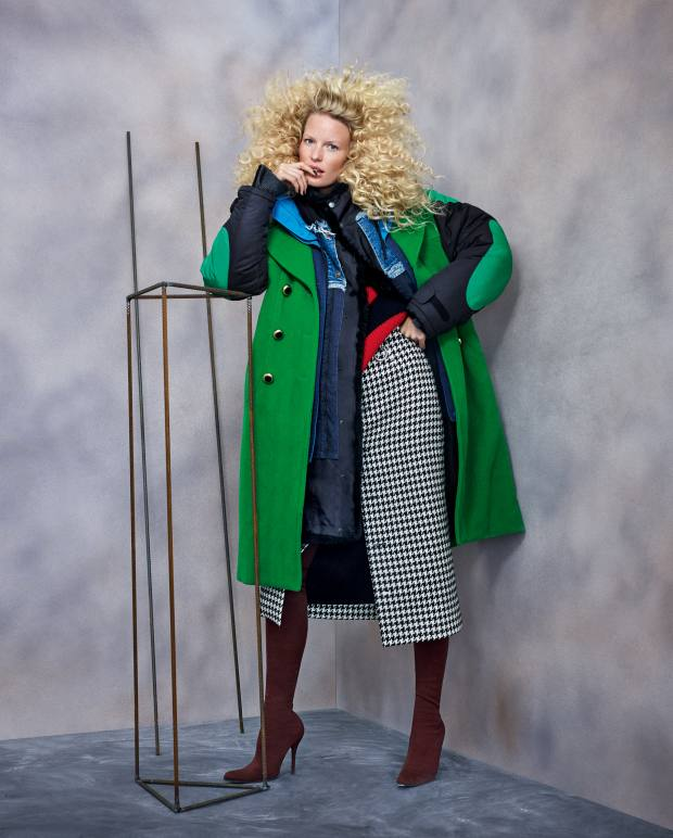 Balenciaga wool/nylon and denim coat, £4,825, wool rollneck, £1,475, wool/nylon skirt, £975, and polyamide/elastane knitted boots, £1,375