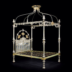 RW Winfield & Co Victorian silver-coloured metal and parcel-gilt bedstead, sold for £18,750 at Bonhams in 2015