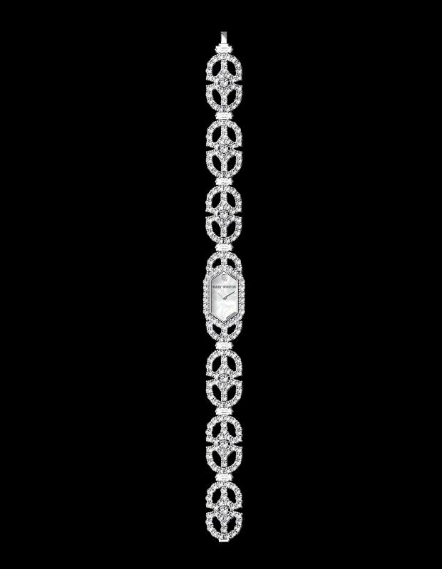 Harry Winston platinum, diamond and mother-of-pearl Art Deco watch, price on request