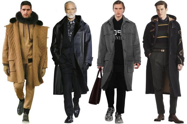 From left: Dolce & Gabbana wool coat, £4,750. Berluti deerskin coat, price on request. Valentino wool coat, £1,950. Ralph Lauren wool-jacquard Reily coat, £4,630