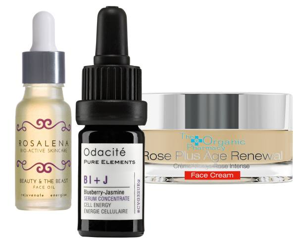 From left: Rosalena Beauty & The Beast Face Oil, £42 for 15ml. Odacité Blueberry-Jasmine Serum Concentrate, £40 for 5ml. The Organic Pharmacy Rose Plus Age Renewal Face Cream, £120 for 50ml