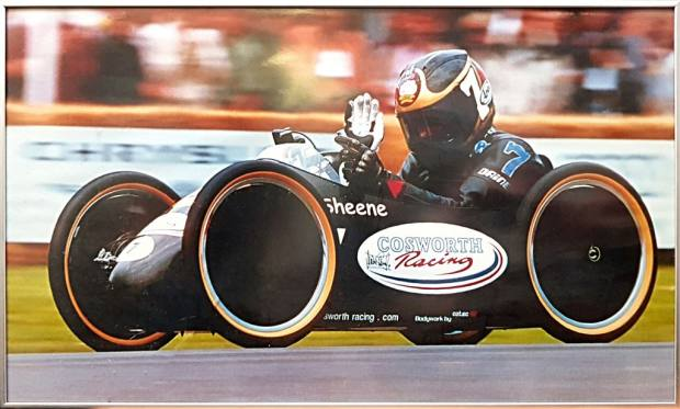 A poster showing Sheene's racer in action