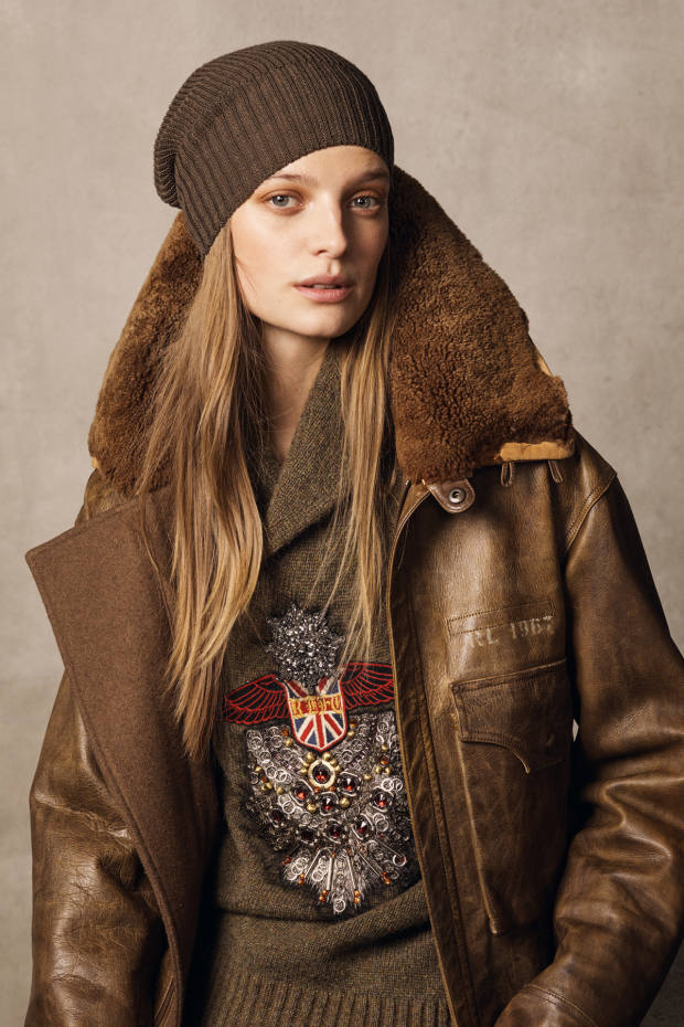 Ralph Lauren leather Grayden coat, £3,785, embroidered cashmere/wool jumper, £3,000, and cashmere Watchman hat, £305