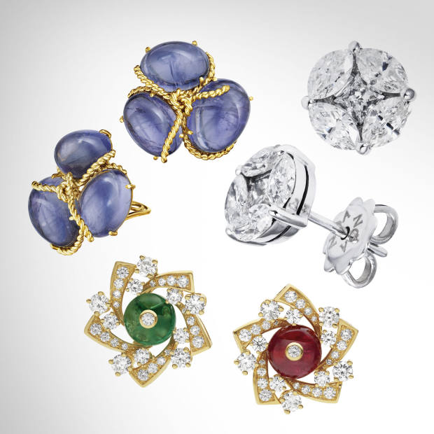 Clockwise from left: Verdura gold and iolite Rope Cluster ear clips, £13,125. Noa Fine Jewellery white gold and diamond studs, £4,890. Bulgari gold, spinel, emerald and diamond La Dolce Vita studs, price on request