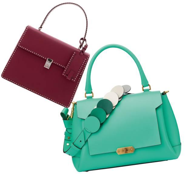 From left: Valentino calfskin bag with Rockstud detailing, £1,990. Anya Hindmarch calfskin Bathurst bag, £1,295