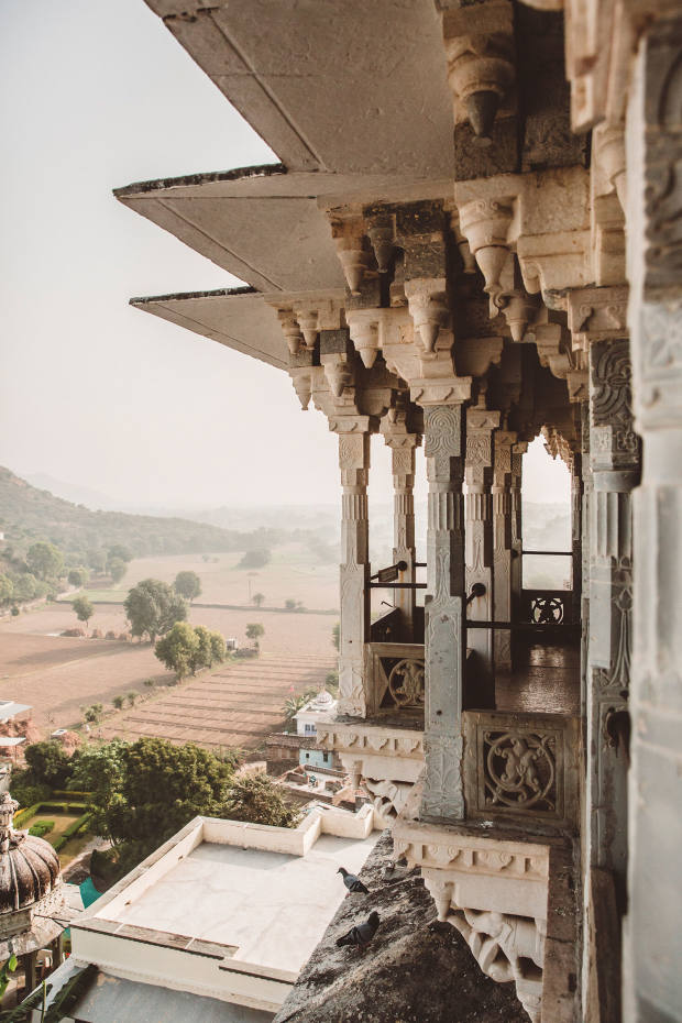 The iconic white fort hotel of Raas Devigarh, just outside Udaipur, India