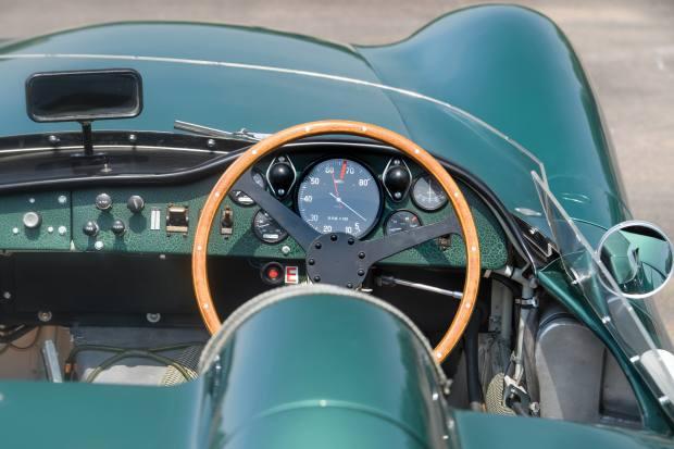 The dashboard and steering wheel of theAston Martin DBR 1