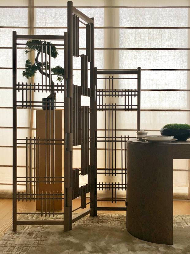 André Fu oak screen, $12,905, and oakdesk, $5,360, from LaneCrawford