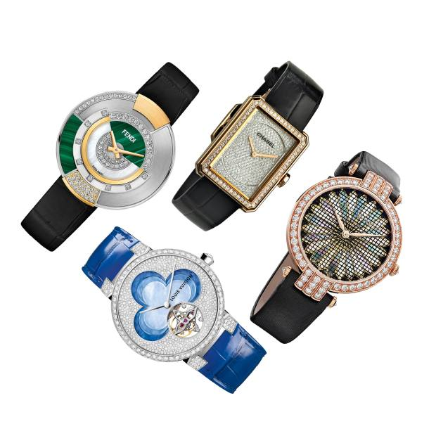 Clockwise from top left: Fendi gold, stainless steel, diamond and malachite Policromia on crocodile strap, from £6,250. Chanel beige gold and diamond Boy.Friend on alligator strap, £8,100. Harry Winston rose gold, diamond, mother-of-pearl and silk Premier Precious Weaving Automatic on satin strap, £27,600. Louis Vuitton white gold, diamond and mother-of-pearl Tambour Blossom on alligator strap, £83,000