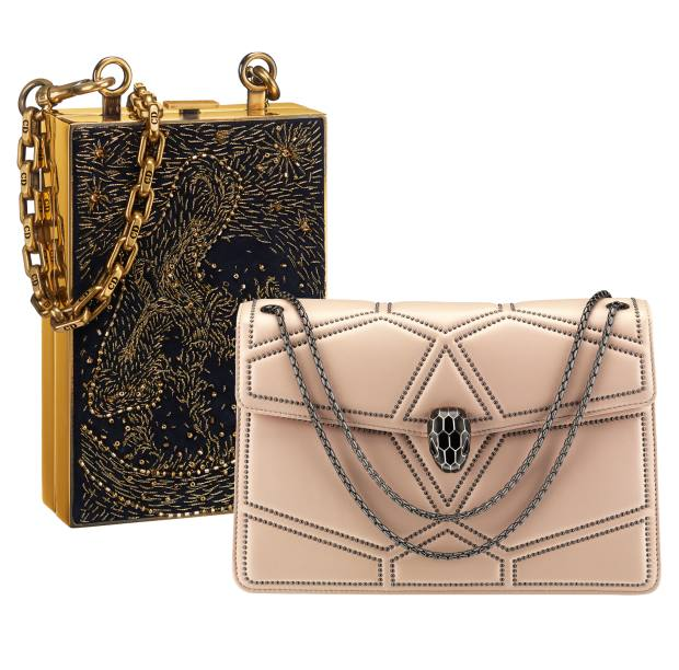 From left: Dior beaded lambskin metal-framed box bag, £5,300. Bulgari calfskin Serpenti Forever bag, £2,030
