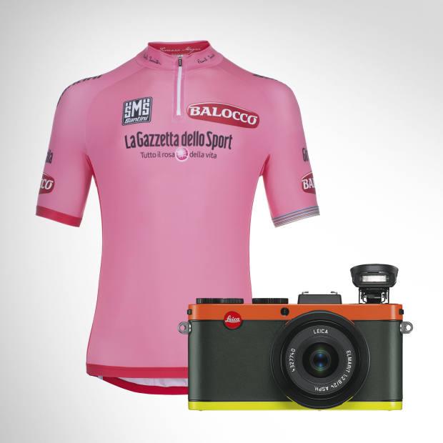 Paul Smith cycling jersey for the Giro d'Italia race, £59.95. Leica X2 Edition Paul Smith camera, £2,000.