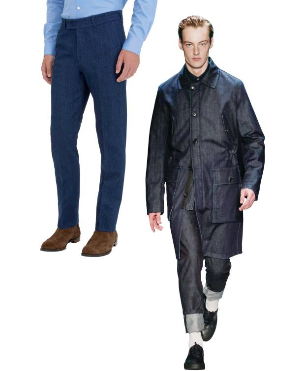 From left: Gieves & Hawkes denim trousers, £295. Cerruti raw denim jeans, £145