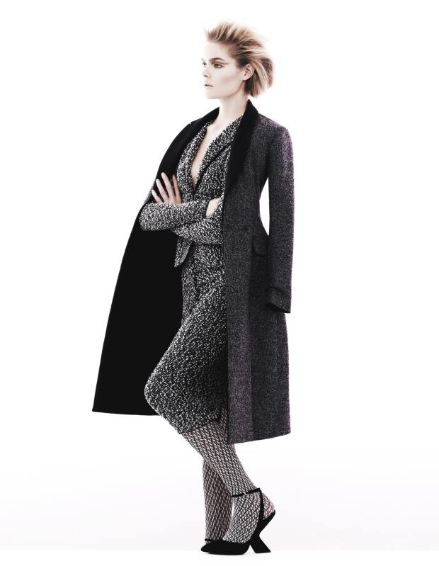 Wool coat, £3,600, and suede shoes, £560, both by Dior. Tweed jacket, €1,300, and matching skirt, €600, both by Nina Ricci. Polyester‑mix tights, £17.75, by Oroblu from MyTights