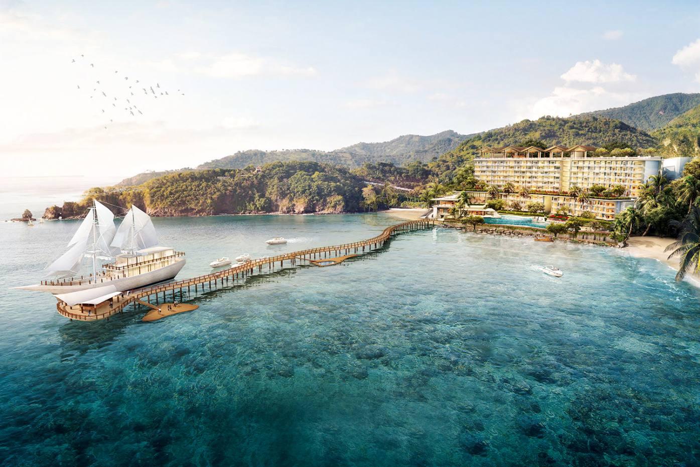 Ayana Resort's 54m Lako di'a phinisi atits new Komodo Waecicu Beach property on Flores Island in Indonesia