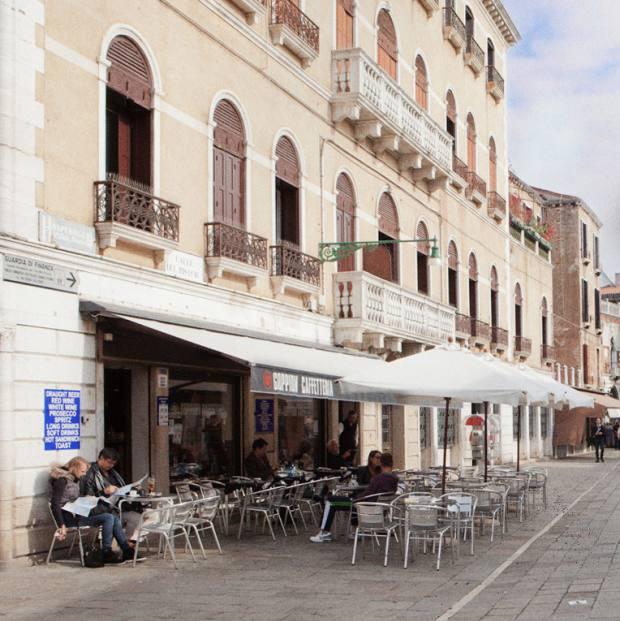 The diminutive café sits on Ruga Vecchia