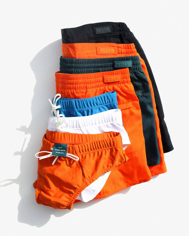 The swimwear collection comes in a range of vibrant colours. The swim shorts are priced from €140 to €160