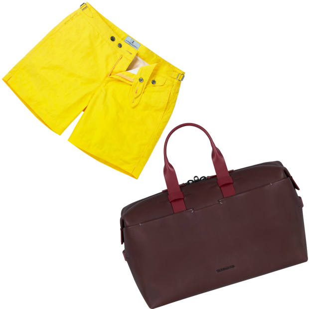 From left: Hemingsworth cotton-blend swim shorts, £185. Troubadour leather weekender bag, £1,195