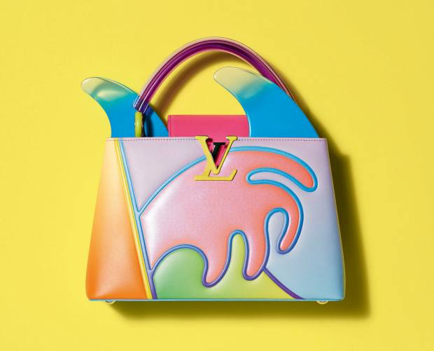 Alex Israel's dégradé-calfskin, Plexiglas and mirror Capucines bag, €6,500, was made from a single piece of leather and stitched to create a 3D patchwork effect