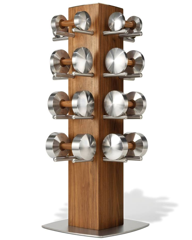 Set of Hock Loft dumbbells (five pairs weighing 2-6kg) with walnut and stainless-steel stand, $6,675